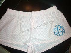 Ladies Boxer Shorts - Pink or Baby Blue Seersucker. $16.00, via Etsy.