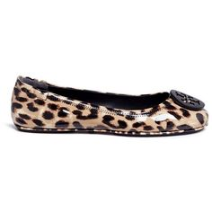 d6a9b32c772f Tory Burch 'Minnie Travel' leopard print patent leather ballet flats ($225)  ❤