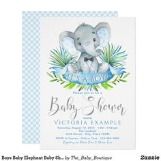 Boys elephant baby shower invitations with adorable baby elephant wearing an optional bow tie on a palm leaf background. These elephant baby shower invitations are easily customized for your event by simply adding your event details. Juegos Baby Shower Niño, Regalo Baby Shower, Baby Shower Invitaciones, Baby Shower Gifts, Baby Shower Invitation Templates, Baby Shower Invitations For Boys, Baby Shower Themes, Shower Ideas, Invitation Ideas