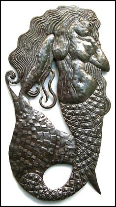 Mermaid Metal Wall Hanging - Handcrafted Metal Wall Art - Nautical Art - Haitian Recycled Steel Drum - 34""