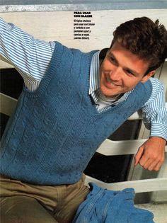 Patrones de chaleco para hombre. Mens Vest Pattern, Crochet Men, Knit Vest, Baby Knitting, Men Sweater, Mens Tops, Sleeveless Sweaters, Men's Knits, Knitwear