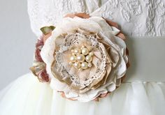 Rustic Bridesmaid Dress Fabric Flower Pin and Sash