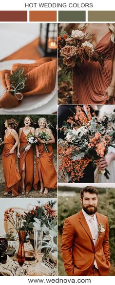 8 Fall Wedding Color Palettes You'll Love Burgundy wedding color ideas, burnt. - 8 Fall Wedding Color Palettes You'll Love Burgundy wedding color ideas, burnt orange wedding decor ideas wedding ideas, Cinnamon rose wedding - Orange Wedding Themes, Burgundy Wedding Colors, Burnt Orange Weddings, Fall Wedding Colors, Wedding Color Schemes, Burnt Orange Bridesmaid Dresses, Wedding Orange, Fall Wedding Themes, November Wedding Colors