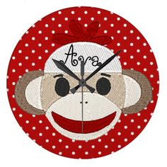 Sock Monkey CUSTOMIZABLE MMONOGRAM WALL CLOCK