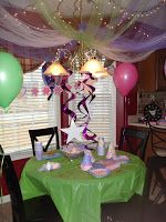 Love the tulle and lights for ceiling decor.  This is a Tinkerbelle party... but adaptable.