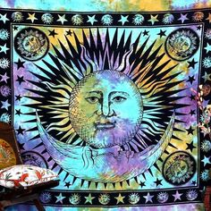 Indian Sun Tapestry Bohemian Beach Towel Colorful Wall Hanging Tapestry Outdoor