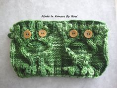 Hand Knit Happy Frogs Headband/Earwarmer... from Made In Kansas By Rosi, on Facebook.