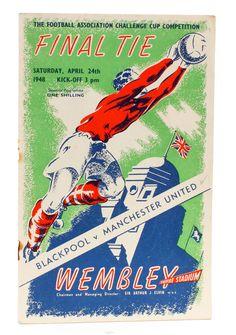 FA Cup Final Blackpool v Manchester United - Match Day Programme Football Program, Football Cards, Football Players, Blackpool Fc, Challenge Cup, Fa Cup Final, Football Memorabilia, Everton Fc, Vintage Football