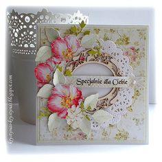 Pastelowo i kwiatowo    Beautiful card.