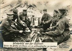 Imperial German soldiers making toast, World War 1.