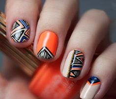 The perfect spring geometric nail art design.This complete nail art kit has everything you need to get the look.Includes OPI & Essie Polishes, Nail Art Pen, and Caviar Beads. Aztec Nail Art, Tribal Nails, Geometric Nail Art, Chevron Nails, Geometric Prints, Geometric Patterns, Tribal Art, Fall Nail Art Designs, Cute Nail Designs