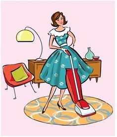 Retro fine art print, x Family Illustration, Cute Illustration, Retro Images, Vintage Images, Fashion Wall Art, Fashion Prints, Vintage Housewife, Nostalgic Images, Dining Room Art