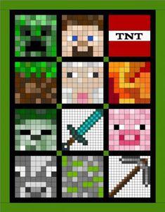Pixels - Minecraft Quilt OR perler beads! Crochet Minecraft, Minecraft Quilt, Minecraft Pattern, Minecraft Pixel Art, Minecraft Crafts, Minecraft Bedroom, Minecraft Blanket, Minecraft Houses, Minecraft Stuff