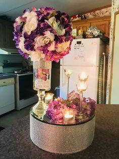 Bling round box with a mirror with a flower ball Rainbow Wedding Centerpieces, Blush Centerpiece, Flower Centerpieces, Centerpiece Rentals, Ball Decorations, Wedding Decorations, Diy Wedding, Trendy Wedding, Fall Wedding