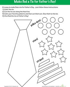 Fathers Day Worksheets for Kids. Help children make some fun little pictures for dad this father's day. Make dad smile with father's Day fun! Diy Father's Day Crafts, Tie Crafts, Fathers Day Crafts, Preschool Crafts, Numbers Preschool, Teacher Worksheets, Worksheets For Kids, Seasons Worksheets, Dad Day