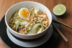 Easy Asian Noodle Salad Recipe Salads with noodles, broccoli slaw, english cucumber, scallions, lime juice, eggs, peanuts