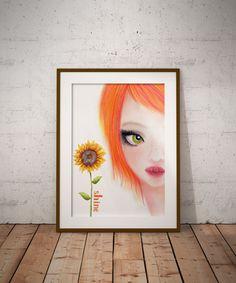 Sun Flower, Digital art, Wall Decor, Wall Art, Orange decor, Printable art, Girls room decor, digital Spring decor, teen room decor by DreamBigArtDesign on Etsy