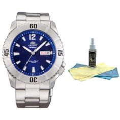 Orient EM7D004D Men's Hammerhead Sporty Blue Dial Stainless Steel Automatic Watch with 30ml Ultimate Watch Cleaning Kit