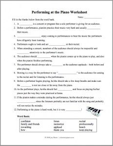 A worksheet to prepare piano students for recitals, covering topics like stage presence and performance etiquette.: