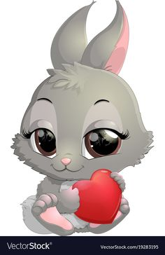 Cute rabbit cartoon vector image on VectorStock Cow Cartoon Images, Cute Cartoon Pictures, Cartoon Drawings, Cute Pictures, Baby Animal Drawings, Cute Animal Illustration, Pinturas Disney, Cute Baby Animals, Nail Arts