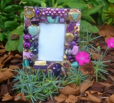 Handmade upcycled jewelry mosaic frame,  purple decorative frame