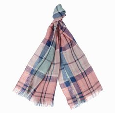 Barbour Tartan Linen Scarf is created in pure linen for a light and summery feel, this woven scarf features Barbour's signature tartan accented by a fringed hem.