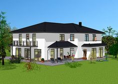 Stadtvilla Rückansicht – Relaxen auf Terrasse und Balkon