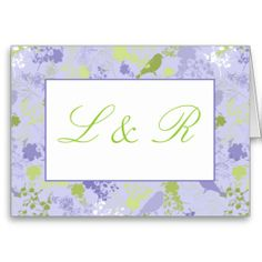 Purple & Green Floral Wedding Thank You Cards