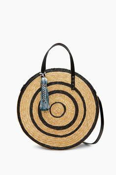 Straw Circle Tote  | Rebecca Minkoff, tote bag, tote bag straw, tote bag beach, tote bag summer, tote bag travel, tote bag vacation, tote bag designer