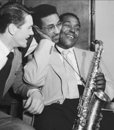 Drummer Sven Bolheim (left), Max Roach (center) and Charlie Parker , Paris, 1949
