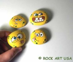 OOAK Original Hand Painted Sponge Bob Rock Art Stone