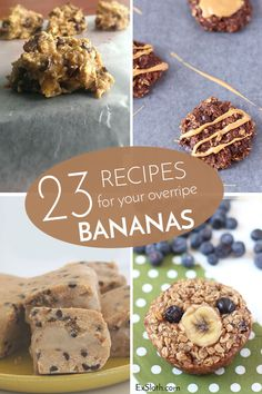 23 Recipes for your extra Bananas Spring and summer usually come with a lot of overripe bananas. Instead of letting them go bad, why not make one or more of these tasty banana recipes? Healthy Banana Recipes, Healthy Treats, Healthy Food, Cookbook Recipes, Cooking Recipes, Bread Recipes, Ripe Banana Recipe, Banana Treats, Yummy Food