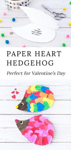 Just in time for Valentines Day, kids of all ages will enjoy creating a darling heart hedgehog craft with paper hearts, paint, and pom poms. This easy kids craft includes a printable template, making it perfect for home or school. #hedgehog #craft