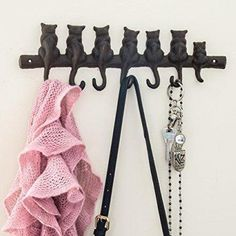 7 Cats Cast Iron Wall Hook Rack http://meowcatimports.com/products/7-cats-cast-iron-wall-hanger-decorative-cast-iron-wall-hook-rack-vintage-design-hanger-with-4-hooks-wall-mounted-12-4-x-3-9-with-screws-and-anchors-by-comfify-ca-1504-21-br?utm_campaign=crowdfire&utm_content=crowdfire&utm_medium=social&utm_source=pinterest