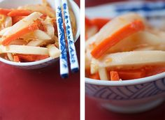 kimchi: I recently horrified a friend by buying kimchi and eating it while visiting her. It's either something you love or hate, but dag-gum, I love it!