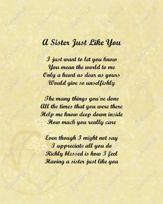 Sister Poems Birthday Poem For About Sisters Little Quotes