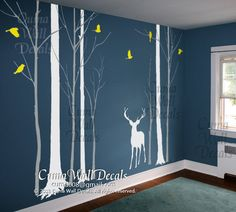 tree wall decals tree and birds wall sticke nursery wall decals children office wall mural vinyl wall decal - deer in Forest   Z170 cuma. $125.00, via Etsy.