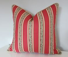 Red Modern Stripe Pillow, Home Decor Pillow Cover, Olive Green and Red Striped Throw Pillows