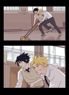 Naruto Sasuke sweeping Court floor xD they look so hot.