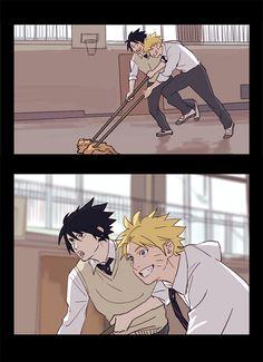 Naruto Sasuke sweeping Court floor xD they look so hot.