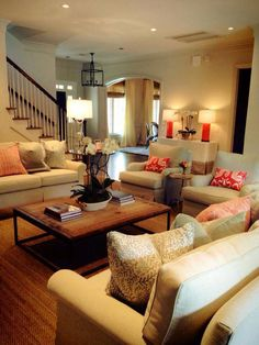 Charmant Nice Furniture Arrangement And Like The Rustic Coffee Table With More  Sophisticated Sofas And Chairs