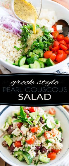 Loaded with tomatoes, cucumbers, feta cheese and kalamata olives, this Greek Style Pearl Couscous Salad is super refreshing, bursting with flavor and sure is a nice twist on your traditional Greek Salad! Bound to become a favorite this summer. Shrimp Couscous, Pearl Couscous Recipes, Couscous Salad Recipes, Couscous Salat, Greek Salad Recipes, Couscous Healthy, Recipes With Feta Cheese, Kale Salads, Couscous Salad Dressing