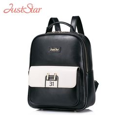 56.80$  Buy here - http://aliv8y.worldwells.pw/go.php?t=32773441375 - JUST STAR Women Backpack Female Ladies PU Leather Preppy Style Daily Travel Shoulder Bags Girl's Brand School Bags JZ4157