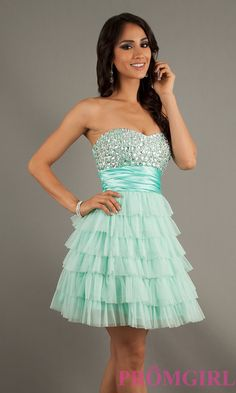 Strapless Beaded Party Dress, B Darlin Short Prom Dress- PromGirl