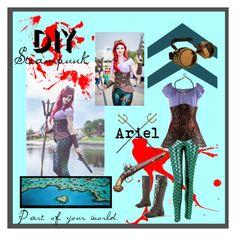 """#diyhalloween #steampunk #ariel #littlemermaid"" by joceveronica on Polyvore featuring Dressbarn, Disney, halloweencostume and DIYHalloween"