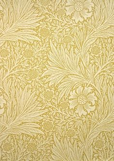 Marigold Wallpaper A two tone yellow floral and leaf wallpaper, circa 1875.  This wallpaper has a matching linen fabric, shown below.