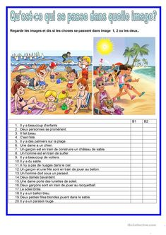 Description image - Plage French Teaching Resources, Teaching French, Learn German, Learn French, French Course, French Worksheets, Picture Composition, Kids Homework, Core French