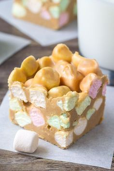 Confetti squares just like grandma made. Also known as peanut butter marshmallow squares - these are no bake, only 4 ingredients, peanut butter-y and sweet!