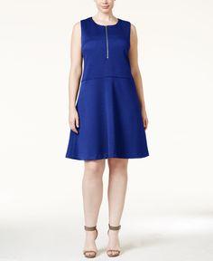 Calvin Klein Plus Size A-Line Pique Dress