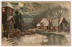 hold to the light postcards | Hold to Light New Year Postcard of Snowy River Village Scene | eBay